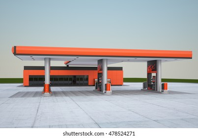 Gas refuel station. 3d render night view