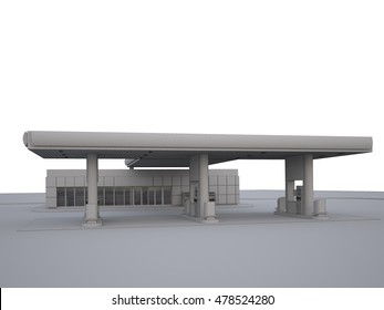 Gas refuel station. 3d render in grey color