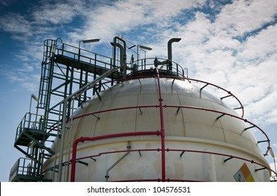 Gas sphere  tank  in petrochemical plant with water spray