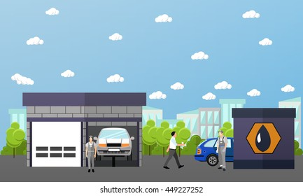 Gas station, car wash and repair shop concept banners. Transport related service buildings.