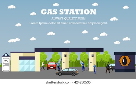 Gas station concept banner. Transport related service buildings. People fuel their cars.