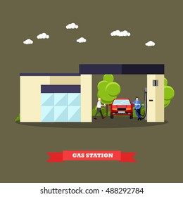 Gas station concept banners. Illustration in flat style. Driver fuel gas to his car.