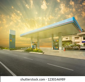 Gas station with dramatic sky and sunrise
