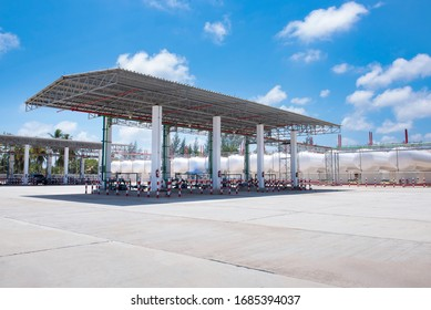 gas station and fuel pumps