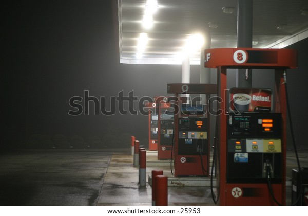 a Gas station late at night