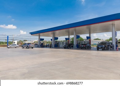 Gas station on natural background