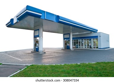Gas station on the white background