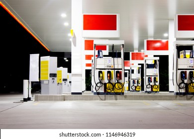 Gas Station Pumps at Night