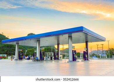 Gas station at sunset.