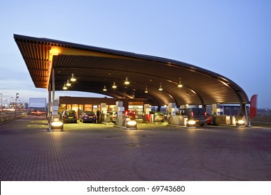 Gas station at twilight