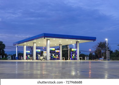 Gas station at twilight .selective focus,vintage color
