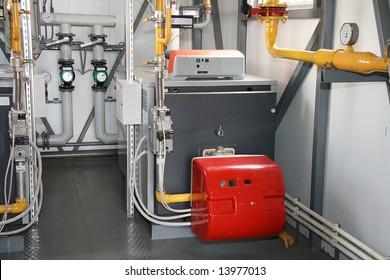 The gas steel boiler established in modern independent boiler-house