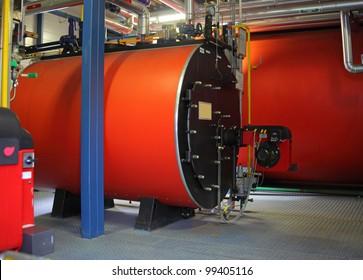 Gas steel boiler established in modern independent boiler-house