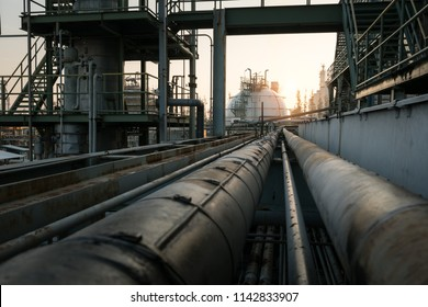 gas storage refinery with pipe rack at morning time,
