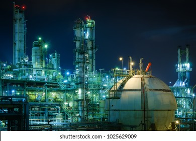 Gas storage sphere tank in gas and oil refinery plant with night, Close up of petrochemical plant, Glitter lighting of industrial plant