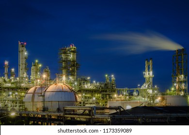 Gas storage sphere tanks in petrochemical plant with twilight sky background, Glitter lighting of industrial plant, Manufacturing of vinyl chloride monomer plant