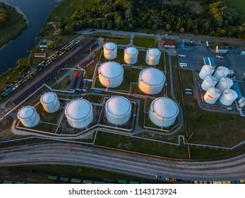 Gas storage terminal in the sea port. Baltic sea, Daugava river. Aerial, Riga, Latvija.