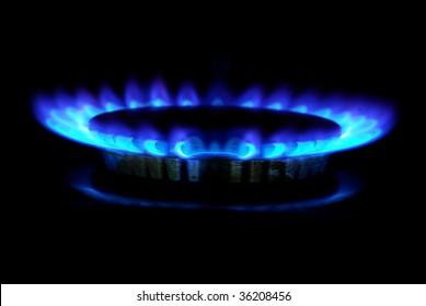 gas stove in the dark