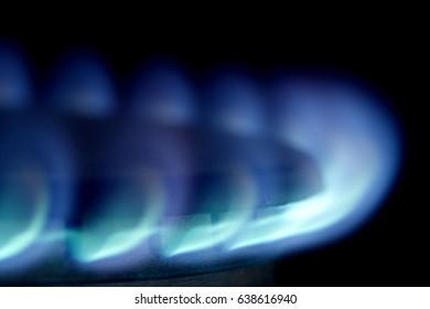 Gas stove macro with flame