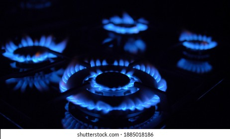 Gas Stove Turned On and Off with Blue Flames Fire in the Dark