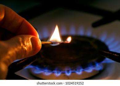 Gas stove. Utility bills concept