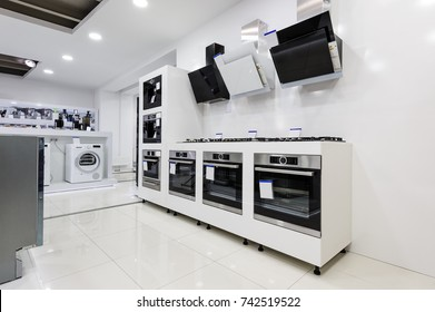 Gas stoves and electric ovens, cooker hoods other appliance or equipment in the retail store showroom