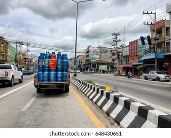 The gas tank delivery in the local area of Thailand. Hua Hin, Thailand May 20,2017