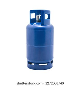 Gas tank with lighters holder isolated on white background. LPG Gas bottle. ( Clipping path )
