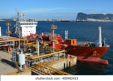 Gas tanker is loading in the port