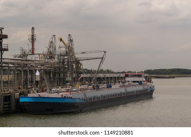 Gas tanker loading in the port of Moerdijk, the Netherlands