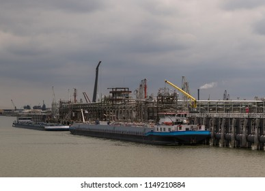 Gas tanker loading in the port of Moerdijk, the Netherlands