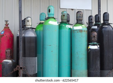 gas tanks chemical products under pressure empty bottles for recycling