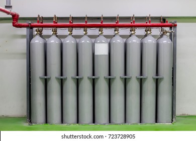 Gas tanks cylinders for supply food court.