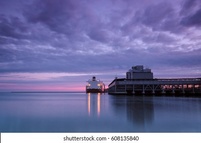 GAS TERMINAL - Sunrise over the sea port of Swinoujscie