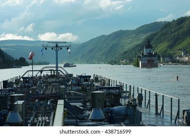 Gas transport over the river Rhein, Inland shipping tanker cargo vessel sailing on the rhine river Rhein Germany by Kaub at June 2016  high water, Binnenvaart Binnenschiff schiffvart