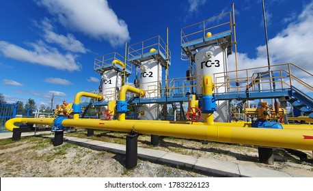 Gastransportausrüstung an einer Kompressorstation in Sibirien