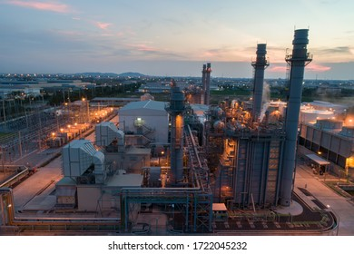 Gas turbine electrical power plant during sunset and twilight time