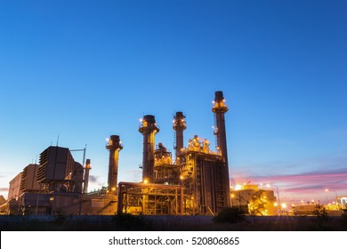 Gas turbine electrical power plant at dusk with twilight support all factory in industrial Estate