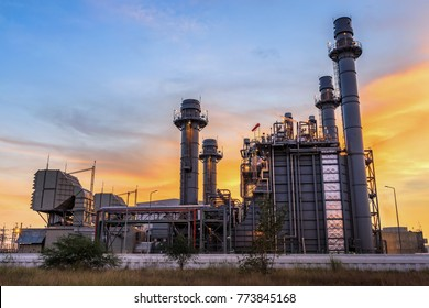 Gas turbine electrical power plant at dusk with twilight is support all factory in Amata nakorn Industrial Estate