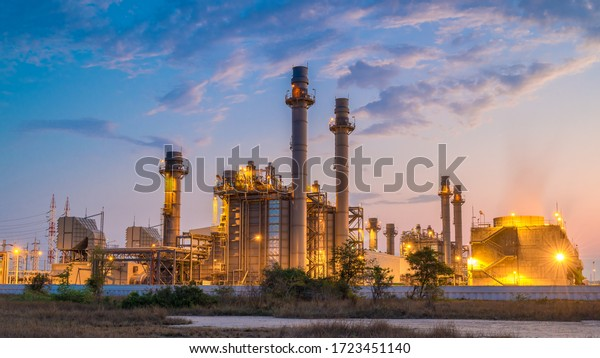 Gas turbine electrical power plant with in Twilight power for factory energy concept.
