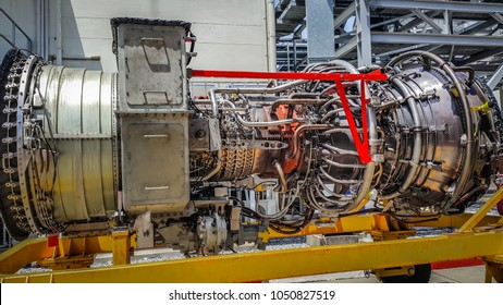 Gas turbine engine of power plant, JET engine or Air plane engine under heavy maintenance.
