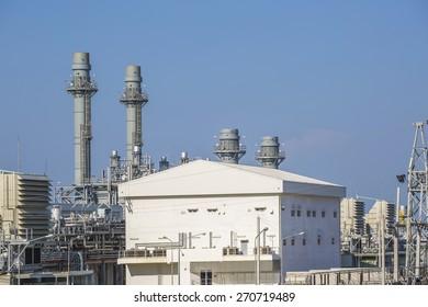 Gas turbine power plant with blue sky