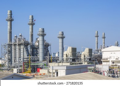 Gas turbine power plant with blue sky