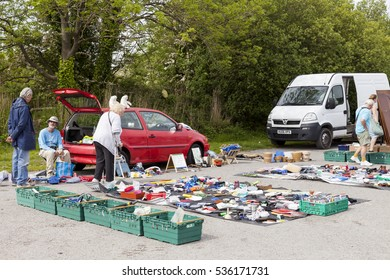 Gas Works Lane, Prestatyn, Denbighshire, Wales., U.K - May 18 2014 : People shopping at Prestatyn open air market and carboot sales