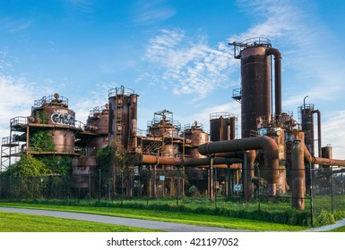 Gas Works Park in sunny day,Seattle,Washington,USA.
