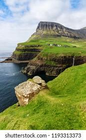 Gasadalur town and waterfall, Faroe islands, Denmark