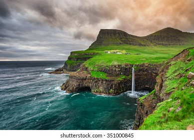 Gasadalur village and its iconic waterfall, Vagar, Faroe Islands, Denmark