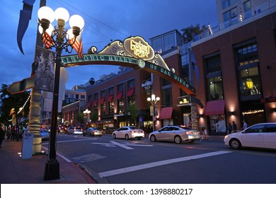 GASLAMP QUARTER SAN DIEGO CALIFORNIA USA MAY 10, 2019: The historic Quarter is a lively downtown neighborhood, known for its nightlife. Clubs, dive bars and cocktail lounges to draw a young crowd,