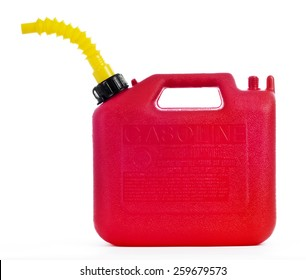 Gasoline Can Red Isolated On White Background