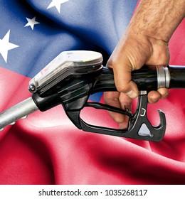 Gasoline consumption concept - Hand holding hose against flag of Samoa